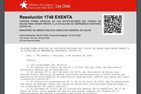 Resolución 1748 EXENTA